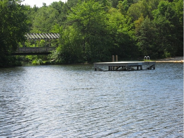 A swimming platform near the Tamarac Lake Bridge