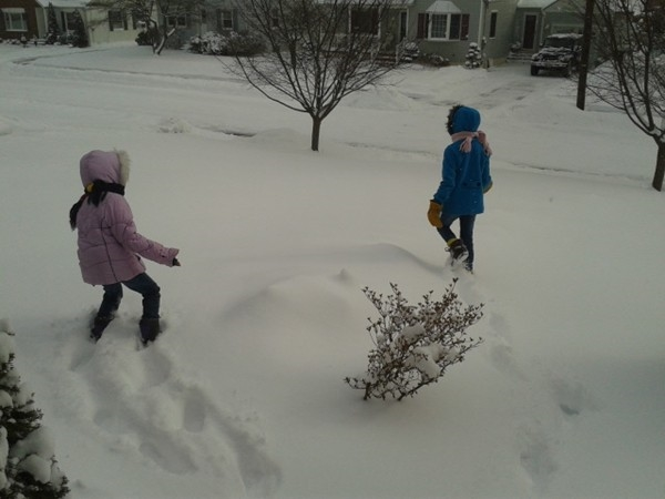Children at play on a snowy day