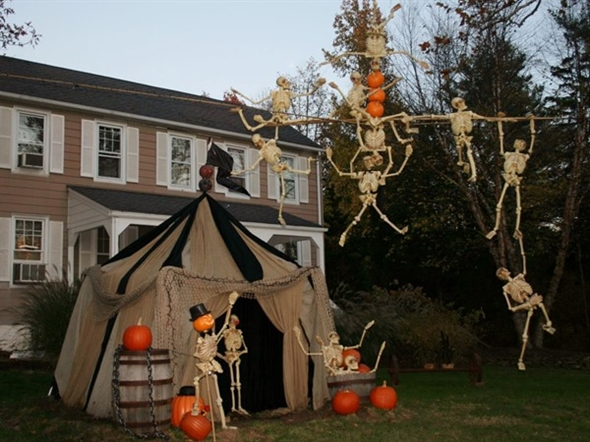 13 Skeletons, a Bridgewater treasure seen on Hwy 202/206 at Halloween and other select holidays