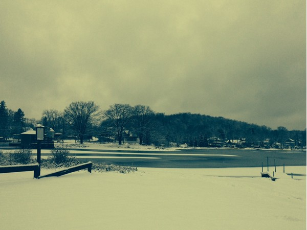 The first snow fall at Lake Musconetcong in December 2012