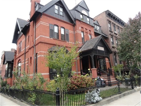 One of the many beautiful homes you'll find on Hudson Street in Hoboken