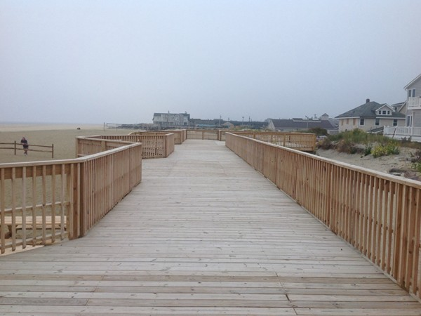 Rebuilt boardwalk at Sea Bright public beach
