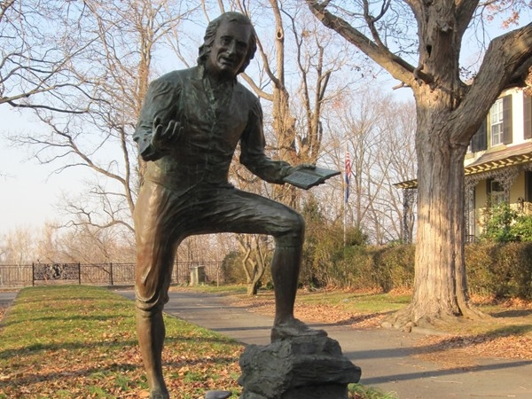 "Bordentown was once home to Thomas Paine, author of ""Common Sense"", now commemorated by this statue."