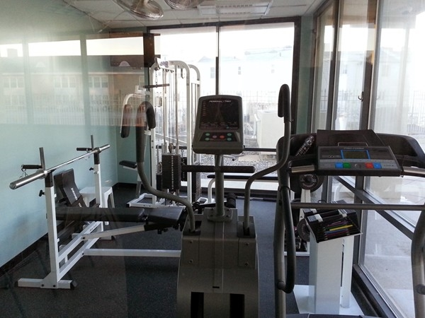 Ocean Plaza on the Long Branch boardwalk has a fitness room overlooking the pool with an ocean view