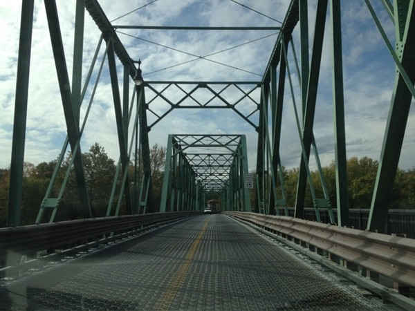 Crossing the picturesque Delaware River on the Riverton-Belvidere Bridge