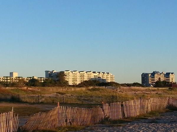 Ocean Pointe, Diamond Beach and Presidential Tower condos as seen from 7 Presidents Park.