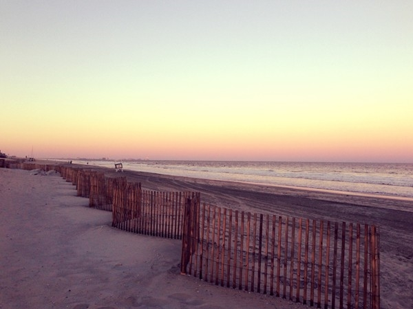 Looking north towards Atlantic City at 59th Street at sunset waiting for the harvest moon