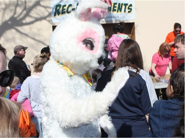 The Easter Bunny makes an appearance at the Annual Easter Egg Hunt behind Borough Hall
