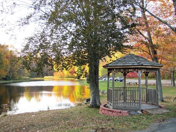 Gazebo overlooks scenic pond at Muriel Hepner Nature Park in Denville