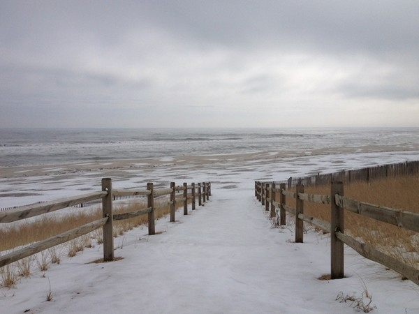 The beach on a snowy day