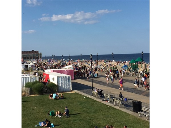 Enjoying the view from the Watermark while listening to music coming from the Stone Pony