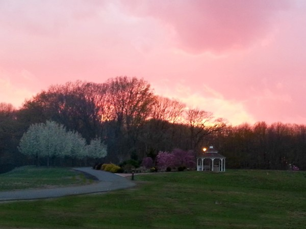 Sunset at Veteran's Park in Hamilton -- 350 acres of playgrounds, trails, a lake and tennis courts