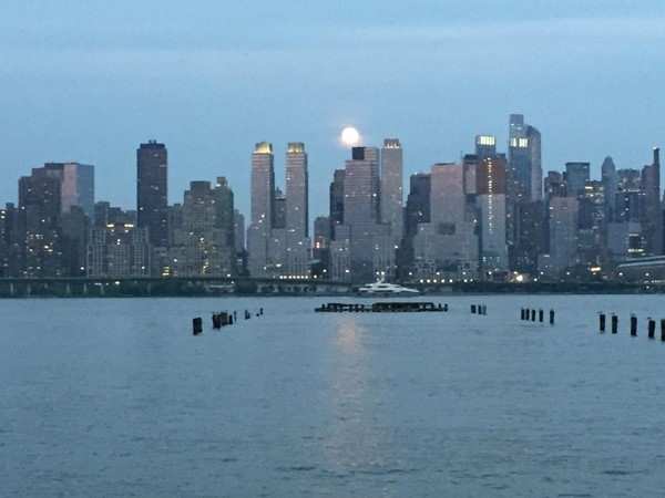Moon over Manhattan. View from the Riverwalk at Port Imperial