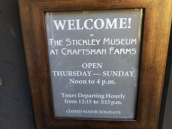 Hours of operation for the Stickley Museum