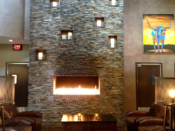 Rails Steakhouse at Towaco Crossing. Fireplaces everywhere for these cold nights