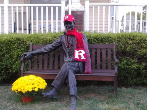 This frequently decorated sculpture is at it again! Go Rutgers!