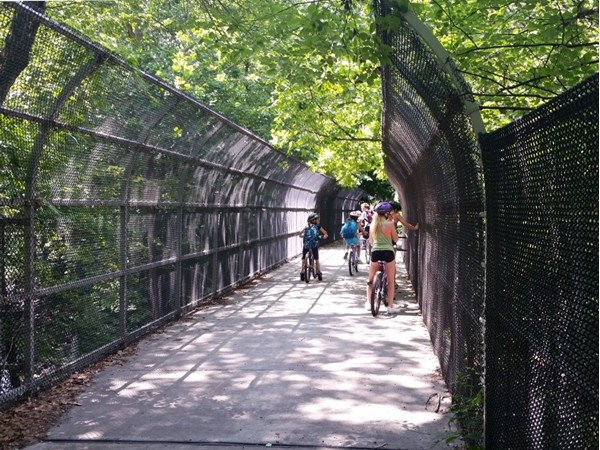 Riding over Peckman River on the West Essex Trail, Cedar Grove