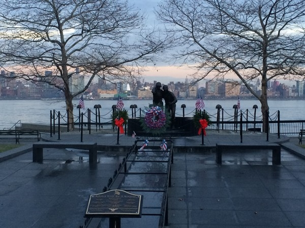A well-deserved memorial to our veterans beside the Hudson with the Manhattan skyline beyond