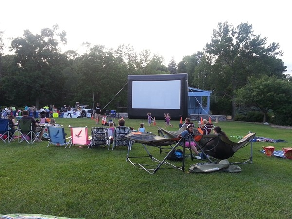 Waiting for the movie to start at the park. One of the many great activities offered by Sparta Rec