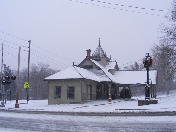 Oradell Train Station in the snow storm