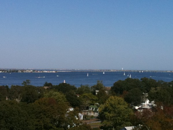 Aerial view acroos the Toms River looking north