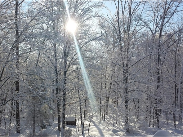 Snowy sunrise over the Saddle River by Anona Lake