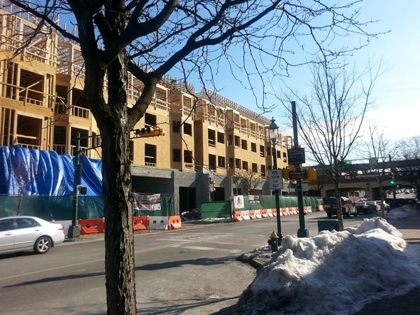 New condos 2014 , In the background midtown direct train to NYC.