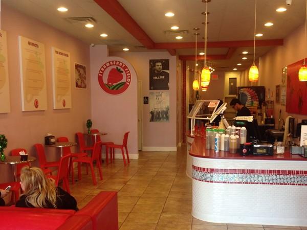 Inside Strawberry Fields frozen yogurt shop.