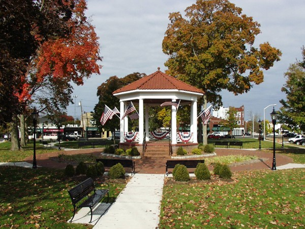 The iconic Gazebo in the center of the newly renovated Veteran's Park at the center of Westwood