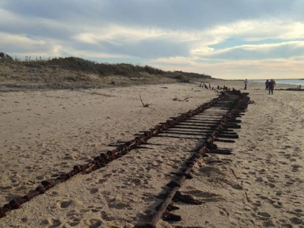 Railroad tracks uncovered at Sunrise Beach