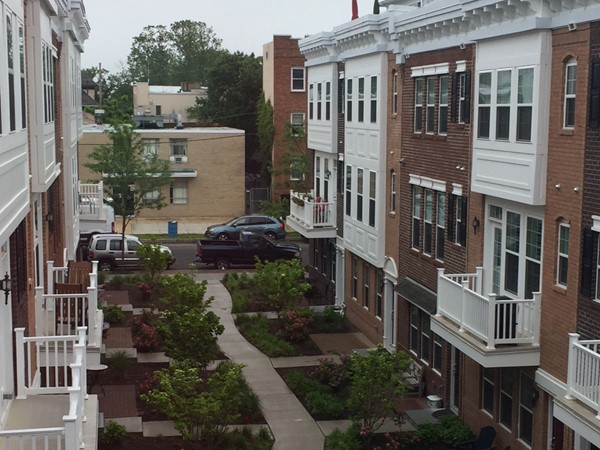 Even on a rainy day, the South Grand Community in Asbury Park is lush and cheerful
