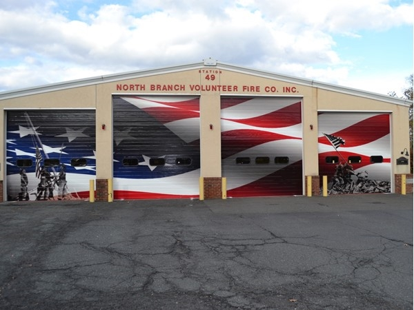 Welcome to North Branch Volunteer Fire Company. Excellent artwork on the garage doors