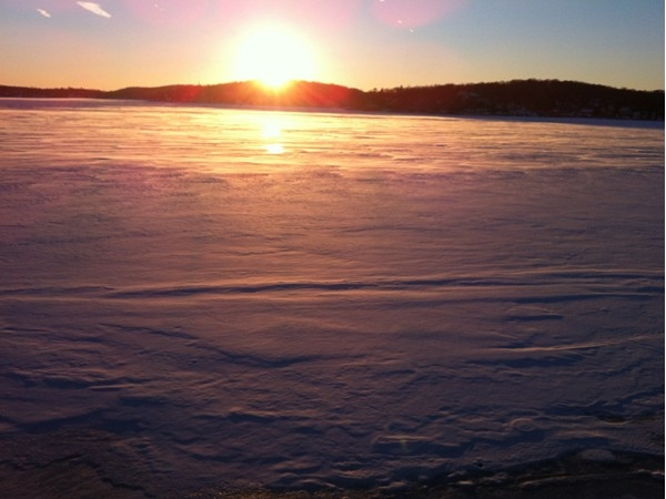 January sunset view of frozen Lake Hopatcong from Jefferson