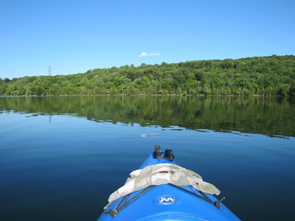 View of Lake Aeroflex and Kittatinny Valley State Park from a kayak