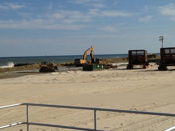 Beach replenishment, Belmar Beach April 2014