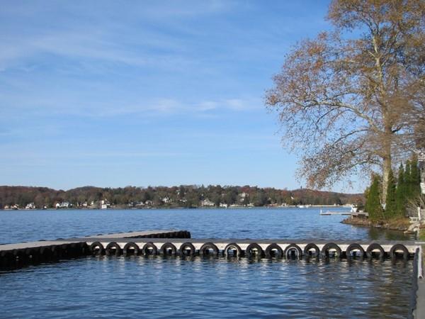Empty docks in late fall, Lake Mohawk Sparta, east shore