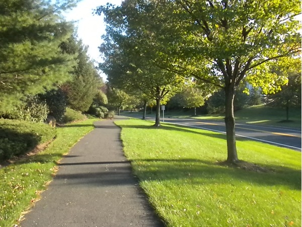 Walking paths with both sides of the road extending the length of Allen Rd in BaskRidge Hills