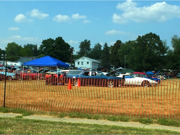 Rows and rows of classic cars at the Hot Rod Farm Semi-Annual Car Show