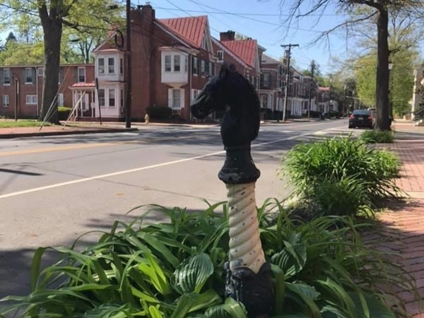 Old hitching post on High Street