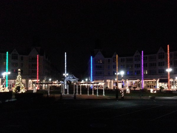 Festival Plaza in Pier Village is decorated for the holidays
