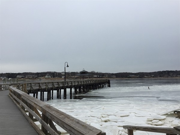 View of the frozen Navesink River from the Fair Haven Dock