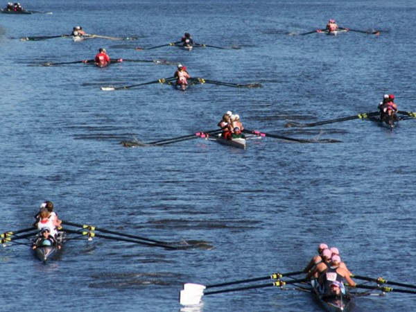 Rowing down the river at the Kearny Crew Tournament