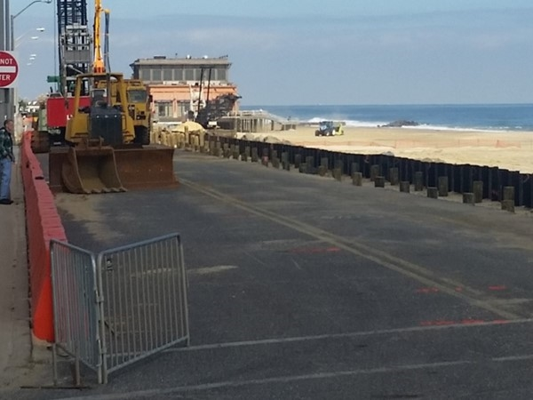 With Pier Village in the distance, the Long Branch Boardwalk reconstruction is in full swing