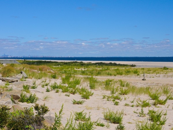 You can see the New York City skyline from the beaches in Sandy Hook