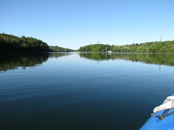 View of the lake from a kayak