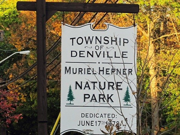 Entrance sign to the Muriel Hepner Nature Park in Denville