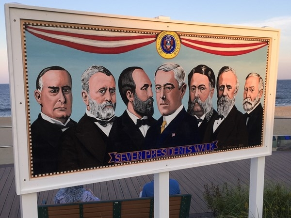 Seven Presidents Walk sign at the south end of boardwalk in West End! Can you name all seven?