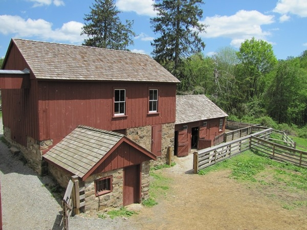 The granary, sheep and hog pens at Fosterfields Historical Farm