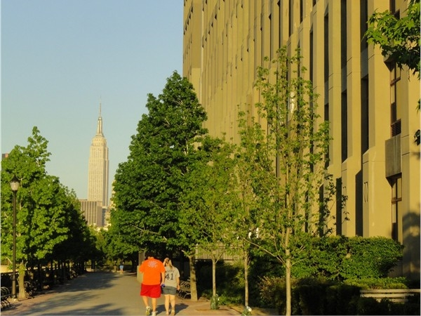 Hobobken promenade right next to Hudson Tea Condos with an awesome view of the Empire State building