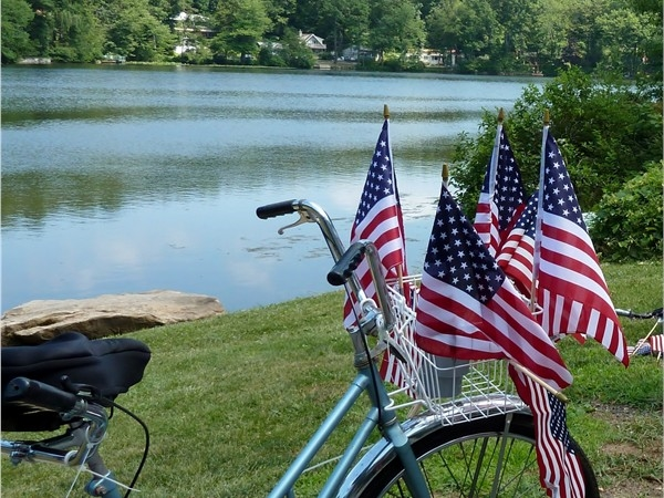 Family fun!  Kids deck out bikes for our annual 4th of July Parade around Lake Rogerene